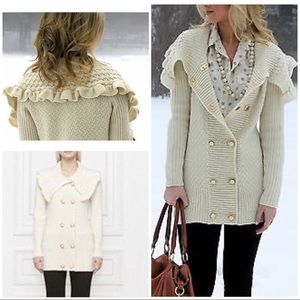 Rare Leifsdottir Knit Ruffled Collar Sweater Coat